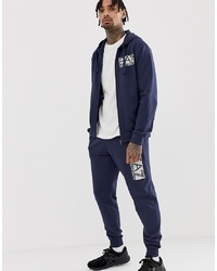 EA7 French Terry Hooded Logo Tracksuit In Navy