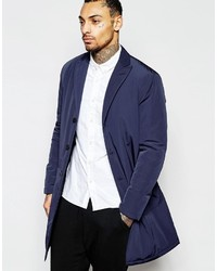 Asos Brand Overcoat With Single Breast Styling In Navy