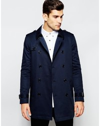 Asos Brand Shower Resistant Trench Coat With Double Breast In Navy