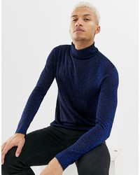Night Addict Metallic Roll Neck Jumper In Navy