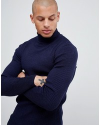 ASOS DESIGN Muscle Fit Ribbed Roll Neck Jumper In Navy