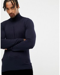 Gianni Feraud Premium Muscle Fit Stretch Roll Neck Fine Gauge Jumper