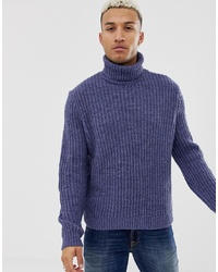 ASOS DESIGN Roll Neck Fisherman Rib Jumper In