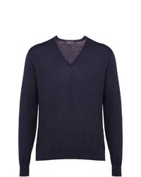 Prada Knitted V Neck Sweater