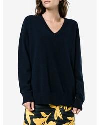Frame Denim Navy V Neck Knitted Sweater