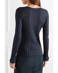 Akris Ribbed Silk Blend Sweater