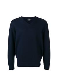 A.P.C. V Neck Fine Knit Sweater