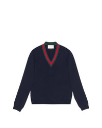 Gucci Wool V Neck Sweater With Web
