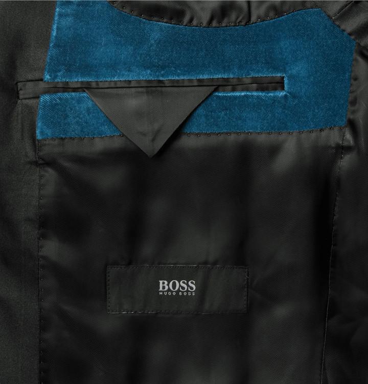 d62bf75e0 Hugo Boss Blue Hockley Slim Fit Satin Trimmed Velvet Tuxedo Jacket, £510    MR PORTER   Lookastic UK