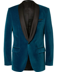 Hugo Boss Blue Hockley Slim Fit Satin Trimmed Velvet Tuxedo Jacket