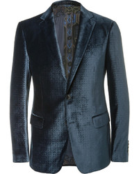 Etro Blue Slim Fit Debossed Velvet Blazer