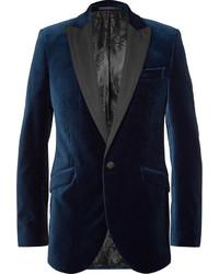 Favourbrook blue faille trimmed cotton velvet tuxedo jacket medium 1148306