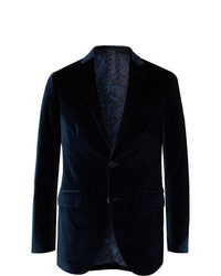 Etro Navy Cotton Blend Velvet Blazer