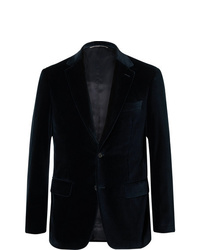 Canali Navy Slim Fit Cotton Velvet Blazer