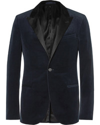 Navy slim fit satin trimmed cotton velvet tuxedo jacket medium 642188