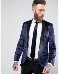 Noose Monkey Super Skinny Tuxedo Blazer In Crushed Velvet
