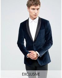 Number Eight Savile Row Velvet Skinny Tuxedo Jacket With Satin Lapel