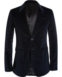 Burberry Prorsum Navy Slim Fit Velvet Blazer