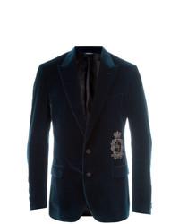 Dolce & Gabbana Velvet Blazer Blue