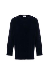 Navy Velvet Crew-neck Sweater