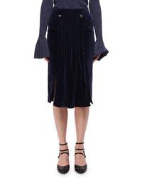Navy Velvet Midi Skirt