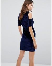 fe43274f3868 ... Qed London Cold Shoulder Velvet Bodycon Dress