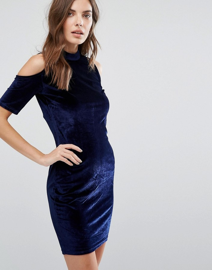 4ad7698b7422 ... Qed London Cold Shoulder Velvet Bodycon Dress ...
