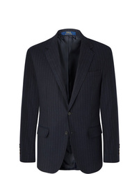 Polo Ralph Lauren Navy Slim Fit Pinstriped Stretch Cotton And Wool Blend Suit Jacket