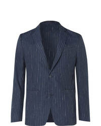 Officine Generale Navy Slim Fit Unstructured Pinstriped Woven Suit Jacket