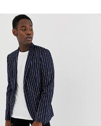 ASOS DESIGN Tall Skinny Blazer In Navy Jersey Stripe
