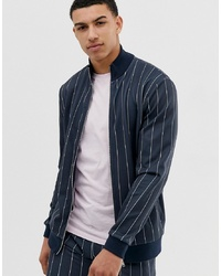 ASOS DESIGN Co Ord Poly Tricot Bomber Jacket In Navy Pinstripe