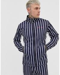 Liquor N Poker Funnel Neck Jacket In Blue Stripe