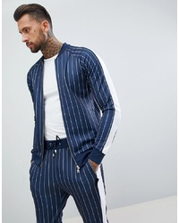 The Couture Club Muscle Fit Track Top In Pinstripe With
