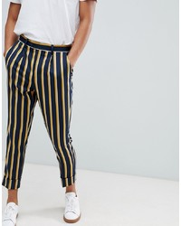 ASOS DESIGN Cigarette Smart Trouser In Navy Stripe With Turn Up