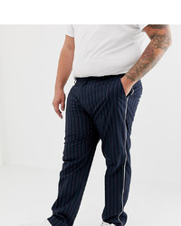 ASOS DESIGN Plus Skinny Smart Trouser In Stripe With White Piping