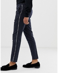 Burton Menswear Slim Trousers In Navy Pinstripe