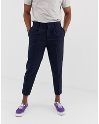 ASOS DESIGN Tapered Smart Trouser In Navy Stripe