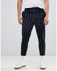ASOS DESIGN Tapered Smart Trousers In Navy And White Pin Stripe