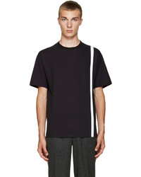 Navy Vertical Striped Crew-neck T-shirt