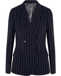 Navy Vertical Striped Double Breasted Blazer