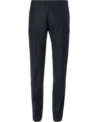 Dries Van Noten Blue Slim Fit Pinstriped Wool Suit Trousers