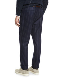Brunello Cucinelli Chalk Stripe Single Pleat Leisure Pants Navy