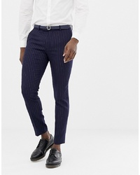 MOSS BROS Moss London Skinny Suit Trouser Navy Crepe Double Breasted