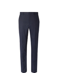 Polo Ralph Lauren Navy Slim Fit Pinstriped Stretch Cotton And Wool Blend Suit Trousers