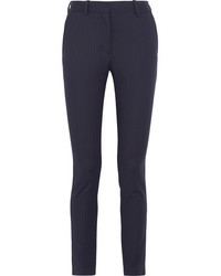 Victoria Beckham Pinstriped Stretch Twill Slim Leg Pants Navy