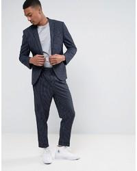 Asos Tapered Suit Pant In Navy Pinstripe