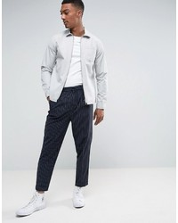Asos Tapered Suit Pant In Navy Pinstripe