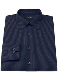 Navy Vertical Striped Long Sleeve Shirt