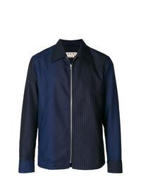 Navy Vertical Striped Shirt Jacket