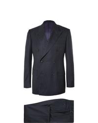 Kingsman Harrys Navy Pinstriped Super 120s Wool Suit